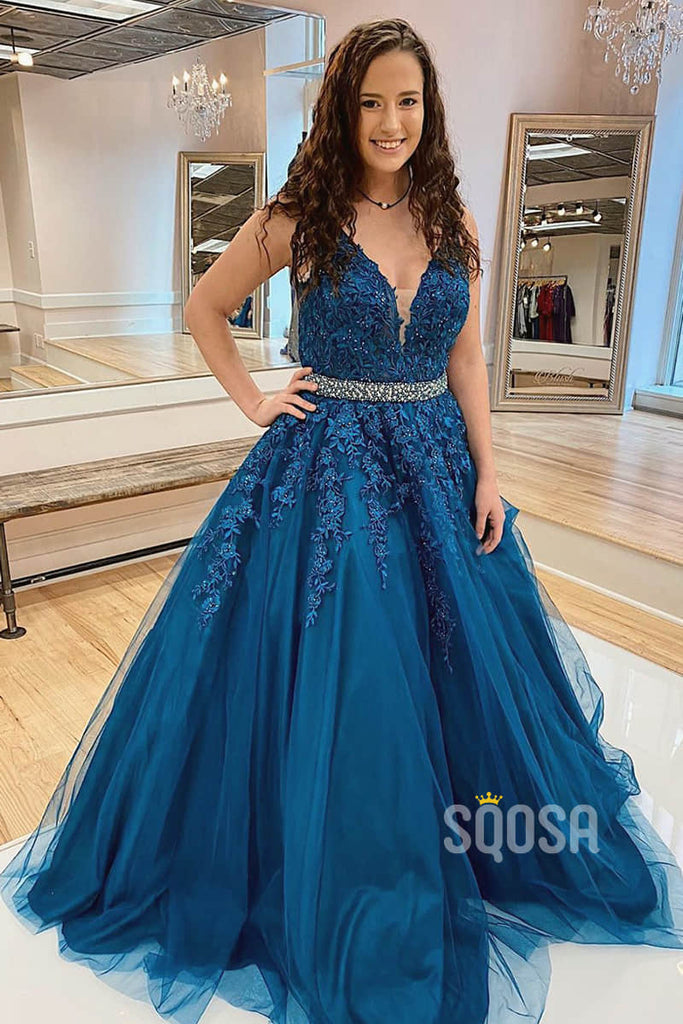 A-line Attractive V-neck Navy Blue Tulle Appliques Long Prom Dress Pageant Dress QP2300|SQOSA