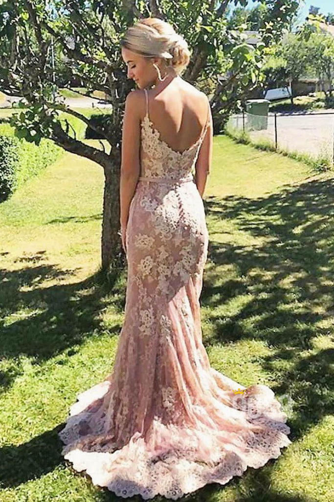 Mermaid/Trumpet Spaghetti Straps Lace Appliques Long Formal Evening Dress QP2305|SQOSA