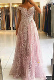 A-line Pink Luxury Lace Appliques Off-the-Shoulder Long Formal Evening Dress QP2311|SQOSA