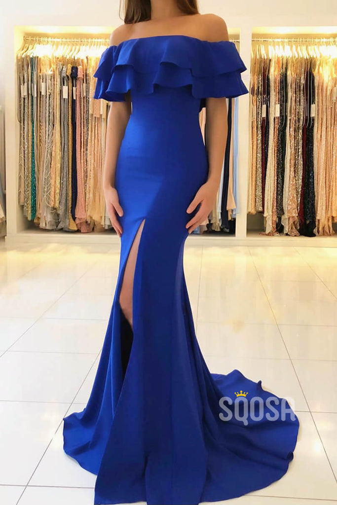 Royal Blue Satin Chic Off-the-Shoulder High Split Mermaid Formal Evening Dress QP2312|SQOSA