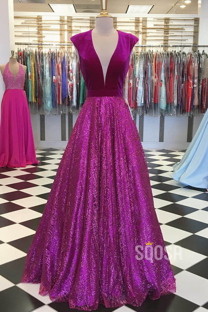 A-line Cap Sleeves Attractive V-neck Sparkle Prom Dress Pageant Dress QP2315|SQOSA