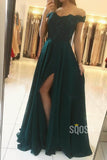A-line Off-the-Shoulder Lace Appliques Chiffon Long Formal Evening Dress with Slit QP2318|SQOSA