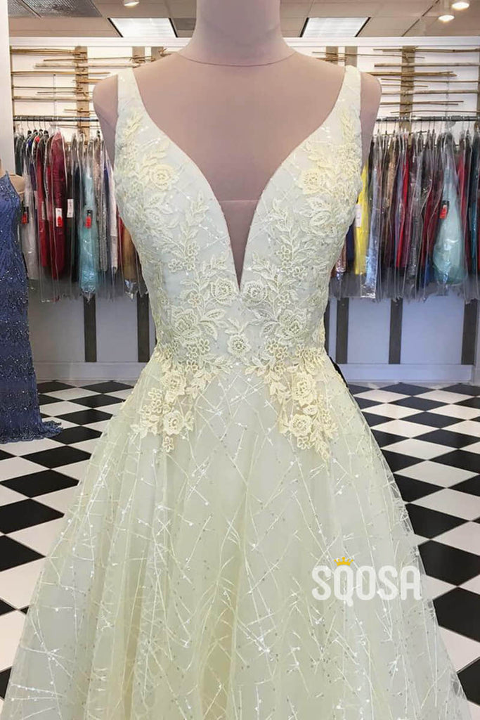 A-line Attractive V-neck Yellow Tulle Appliques Sparkle Prom Dress QP2320|SQOSA