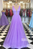 A-line Lavender Tulle Attractive V-neck Sparkle Prom Dress Pageant Dress QP2323|SQOSA