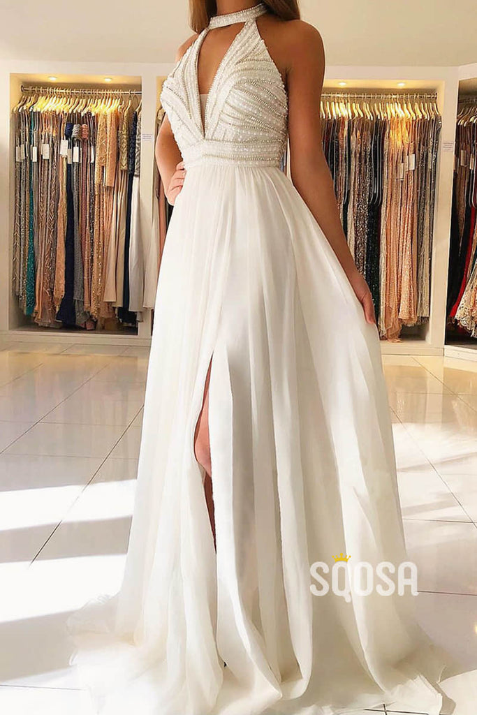 A-line Unique Halter Chiffon Beaded Long Formal Evening Dress with Slit QP2333|SQOSA