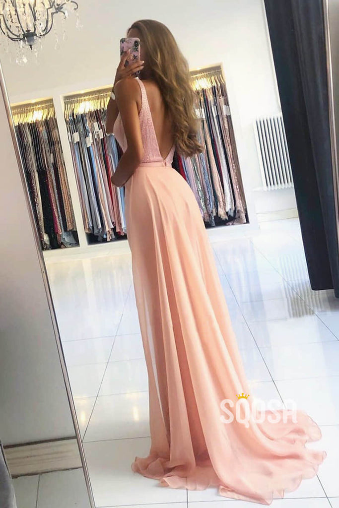 Mermaid/Trumpet Evening Dress Double Straps Pink Long Formal Dress QP2335|SQOSA