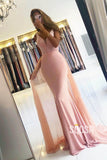 Mermaid/Trumpet Evening Dress Double Straps Pink Long Formal Dress QP2335