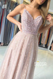 A-line Spaghetti Straps Appliques Long Formal Evening Dress QP2347|SQOSA