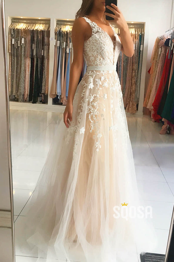 A-line Attractive V-neck Tulle Appliques Long Formal Evening Dress QP2350|SQOSA