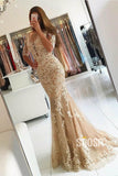 Mermaid/Trumpet Evening Dress Half Sleeves Tulle Appliques Long Formal Dress QP2354|SQOSA