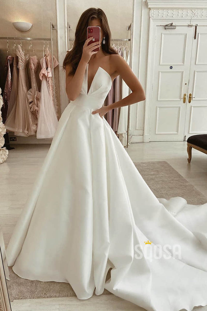 A-line Attractive V-neck Ivory Satin Simple Wedding Dress Rustic Bridal Gowns QW2099|SQOSA