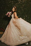A-line Vneck Sparkle Sequins Rustic Wedding Dress Glitter Bridal Gowns QW2100|SQOSA