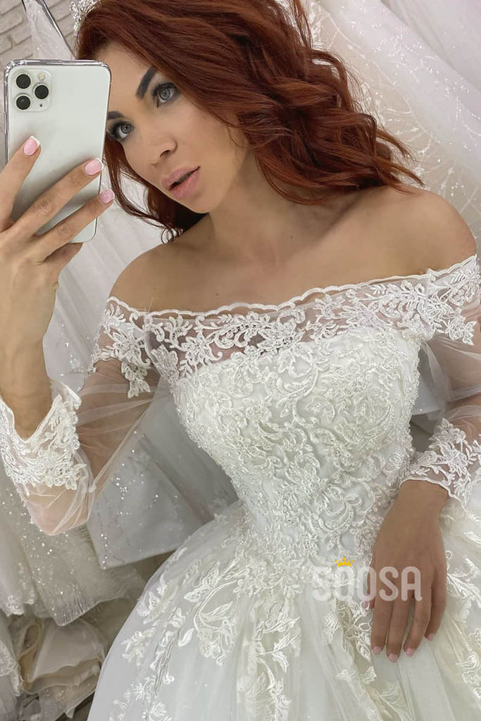 Ball Gown Off-the-Shoulder Illusion Long Sleeves Rustic Wedding Dress Bridal Gown QW2106|SQOSA