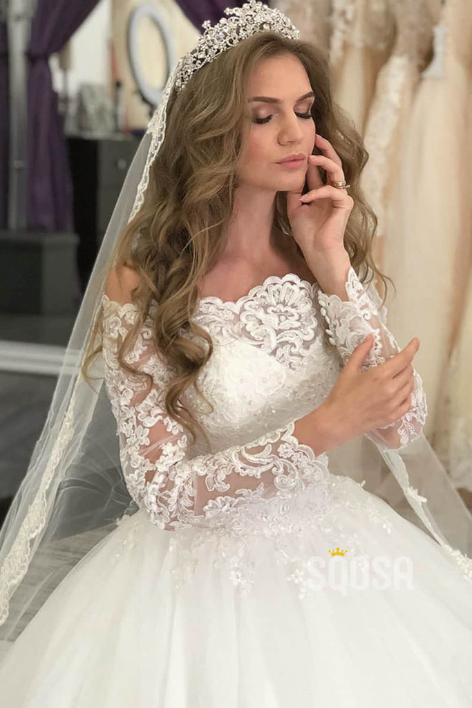 A-line Spaghetti Straps V-neck Luxury Lace Bohemian Wedding Dress Rustic Bridal Gown QW2097|SQOSA