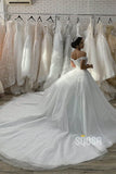 Ball Gown Off-the-Shoulder Luxury Pearls Princess Wedding Dress Bridal Gown QW2108|SQOSA