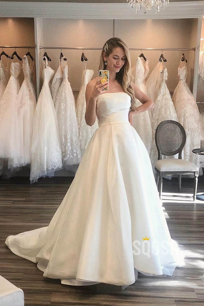 A-line Chic Strapless Ivory Simple Wedding Dress Bridal Gown QW2110|SQOSA