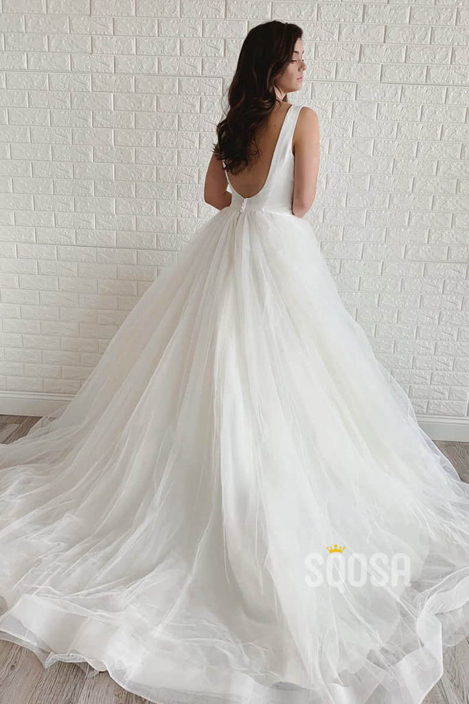A-line Scoop Simple Rustic Wedding Dress Bridal Gown QW2115|SQOSA