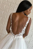 A-line Chic Appliques Wedding Dress with Pockets Bridal Gown QW2117|SQOSA