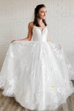 A-line Spaghetti Straps V-neck Lace Appliques Bohemian Wedding Dress Bridal Gown QW2125|SQOSA