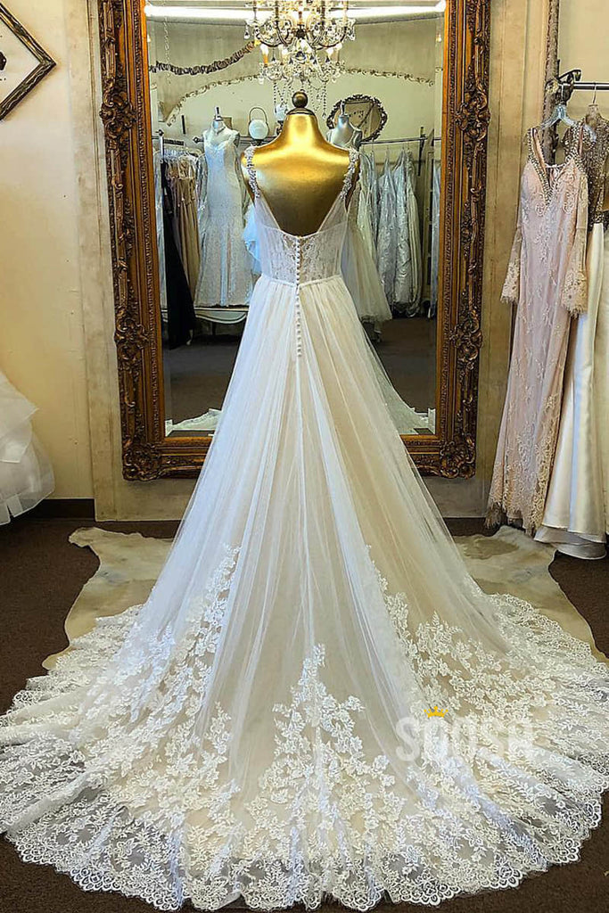 A-line Attractive V-neck Tulle Appliques Rustic Wedding Dress Bridal Gown QW2131|SQOSA