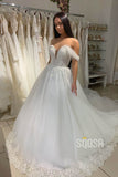 Ball Gown Cap Sleeves Ivory Tulle Appliques Rustic Wedding Dress Bridal Gown QW2140|SQOSA