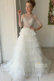 A-line Illusion Beaded Bodice 3/4 Sleeves Wedding Dress Bridal Gown QW2142|SQOSA