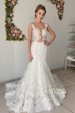 Unique Illusion Neckline Mermaid Wedding Dress Bridal Gown QW2143