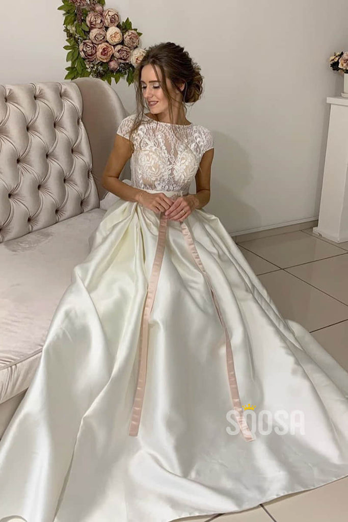 A-line Short Sleeves Lace Top Satin Wedding Dress with Sashes QW2149|SQOSA