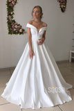 A-line Chic Off-the-Shoulder Ivory Satin Simple Wedding Dress Bridal Gown QW2151|SQOSA