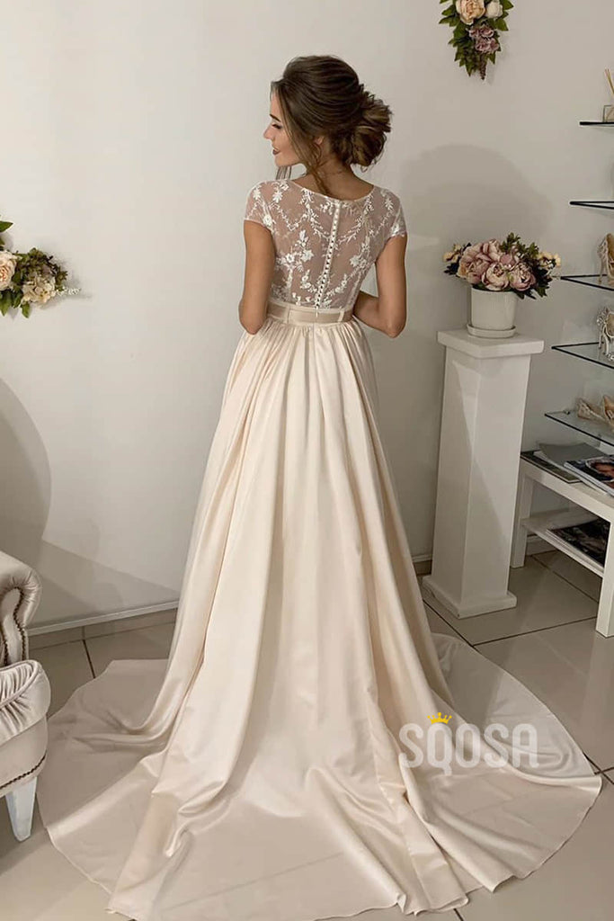 A-line Lace Top Short Sleeves Champagne Wedding Dress Bridal Gown QW2152|SQOSA