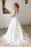 A-line Attractive V-neck Simple Wedding Dress Rustic Wedding Gown QW2157|SQOSA
