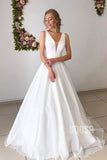 A-line Attractive V-neck Simple Wedding Dress Rustic Wedding Gown QW2157