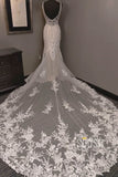 Unique V-neck Lace Appliques Beaded Mermaid/Trumpet Wedding Dress QW2173|SQOSA
