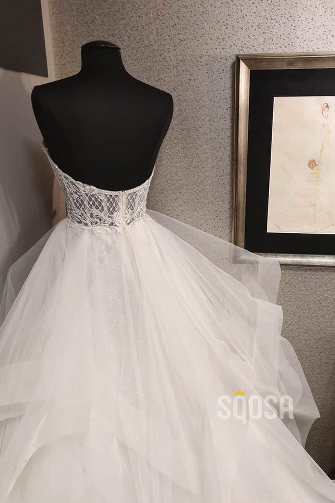 Ball Gown Sweetheart Beaded Rustic Wedding Dress Sparkle Wedding Gown QW2177|SQOSA