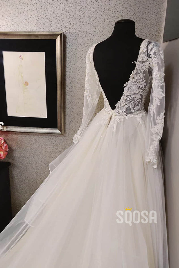 A-line V-neck Tulle Appliques Long Sleeves Rustic Wedding Dress QW2178|SQOSA