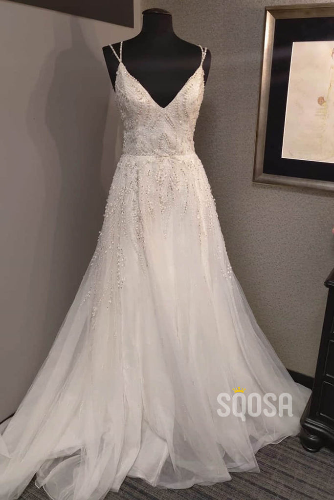 A-line Spaghetti Straps Tulle Beaded Rustic Wedding Dress Bridal Gown QW2180|SQOSA