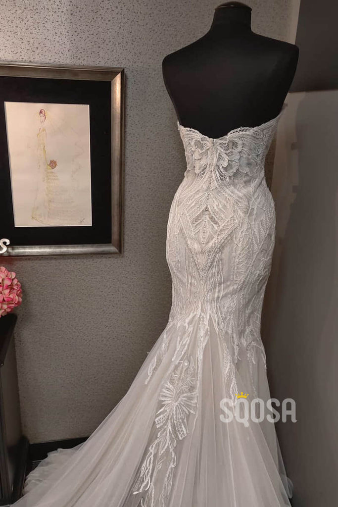 Mermaid/Trumpet Wedding Dress Attractive V-neck Lace Wedding Gown QW2188|SQOSA