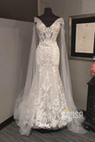 Unique Cap Sleeves Luxury Lace Mermaid Wedding Dress Bridal Gown QW2191|SQOSA