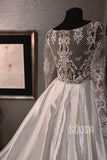 A-line V-neck Lace Appliques Long Sleeves Rustic Wedding Dress QW2194|SQOSA