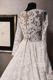 A-line V-neck Long Sleeves Lace Rustic Wedding Dress Bridal Gown QW2198|SQOSA