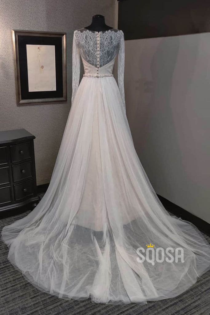 A-line Chic Scoop Illusion Lace Long Sleeves Rustic Wedding Dress QW2204|SQOSA