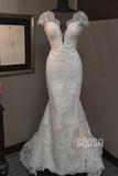 Mermaid/Trumpet Wedding Dress Lace Appliques Short Sleeves Rustic Wedding Gown QW2207|SQOSA