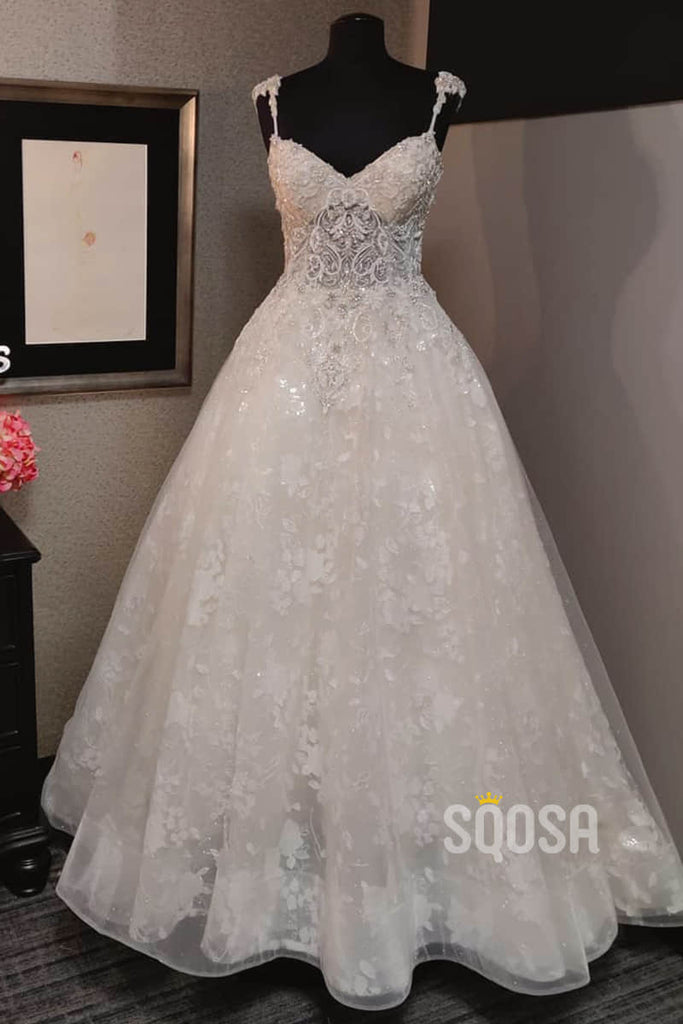 A-line Spaghetti Straps Lace Appliques Rustic Wedding Dress Bridal Gown QW2212|SQOSA
