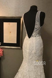 Mermaid/Trumpet Wedding Dress Attractive V-neck Lace Wedding Gown QW2216|SQOSA