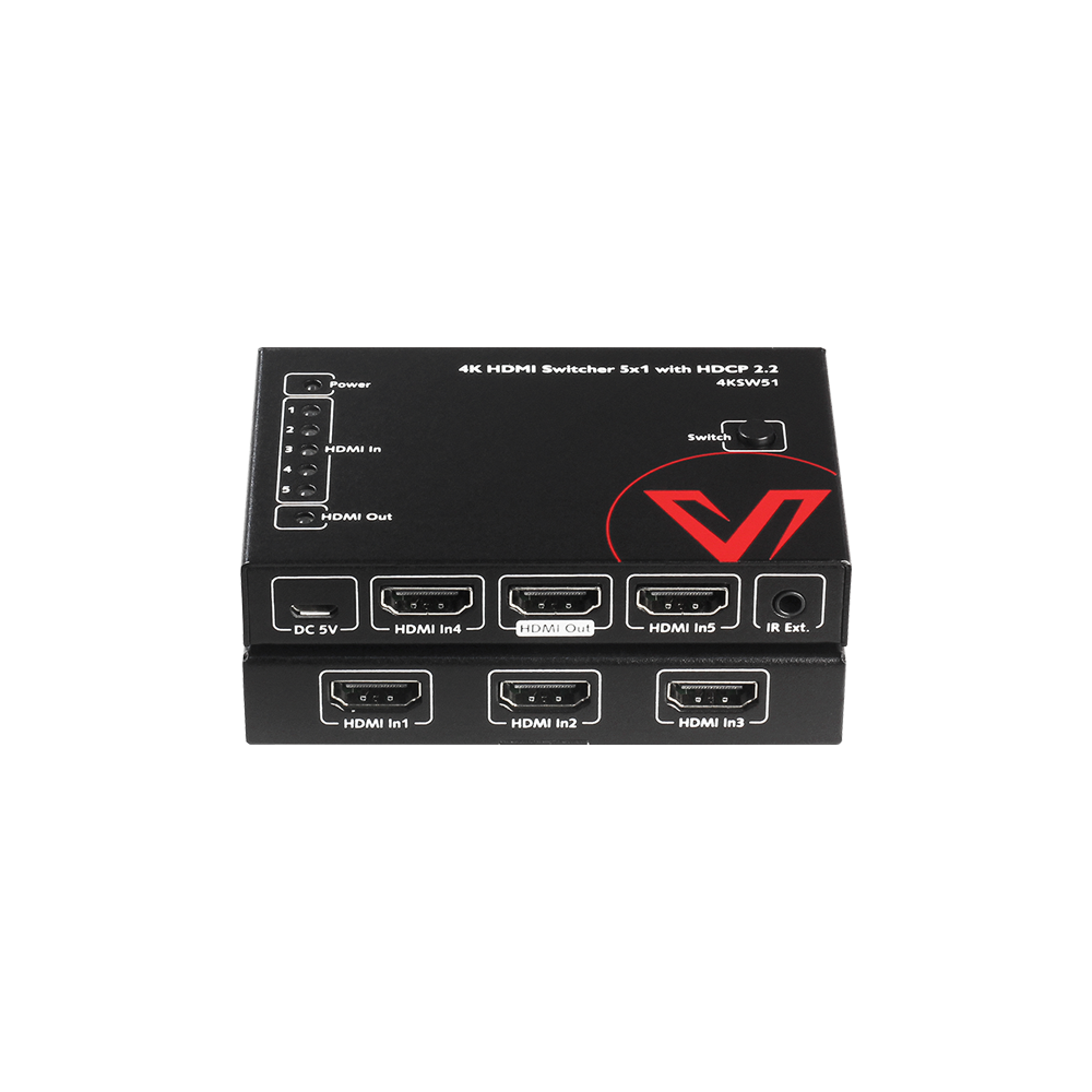 4K Economic HDMI Switch 5 In 1 Out, IR Remote, HDCP 2.2