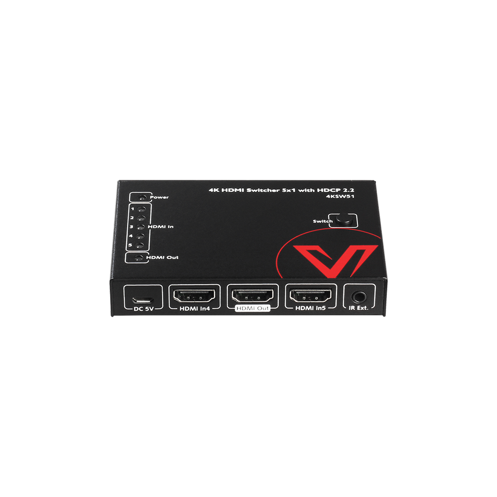 4K Economical HDMI Switch 5 In 1 Out, IR Remote, HDCP 2.2