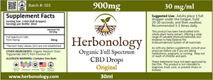 Full Spectrum CBD Original Tincture - 30ml- 900mg