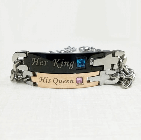 Jewelry-Stainless-Steel-Her-King-His-Queen-Couple-Bracelet-Matching-Set-Valentine-Gift