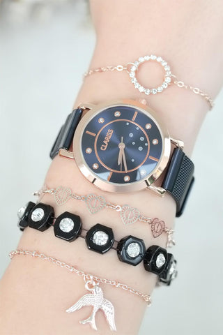 Gold-Tone Blue Watch & Bracelet Set