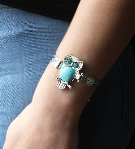 Women's-Owl-Bangle-Chain-Bracelet-Turquoise-Crystals-Vintage-Tibetan-Silver
